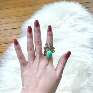 J. Crew size 6 Gold Gemstone Embellished Ring